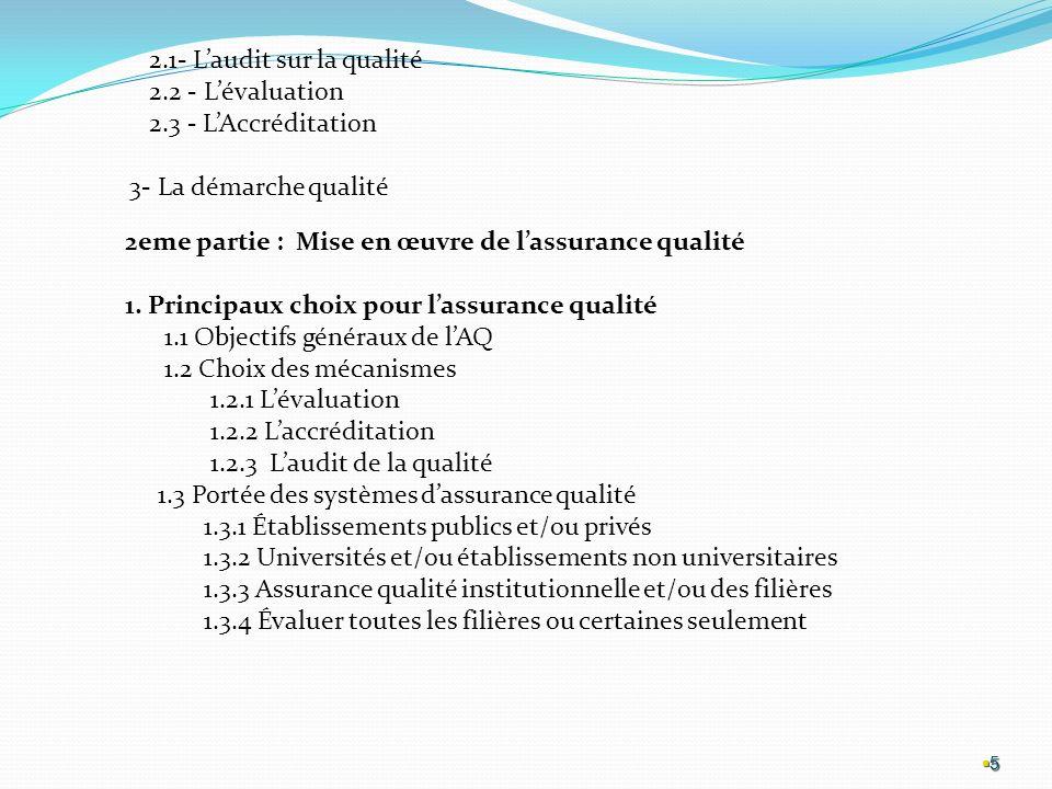 5 5 2.1- Laudit sur la qualité 2.2 - Lévaluation 2.3 - LAccréditation 3- La démarche qualité 2eme partie : Mise en œuvre de lassurance qualité 1.