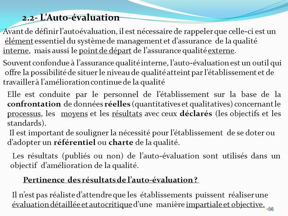 56 2.2- LAuto-évaluation Avant de définir lautoévaluation, il est nécessaire de rappeler que celle-ci est un élément essentiel du système de management et dassurance de la qualité interne, mais aussi le point de départ de lassurance qualité externe.