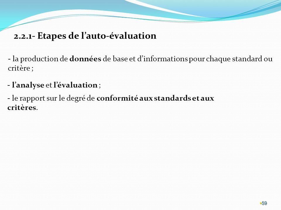 59 2.2.1- Etapes de lauto-évaluation - la production de données de base et dinformations pour chaque standard ou critère ; - lanalyse et lévaluation ; - le rapport sur le degré de conformité aux standards et aux critères.