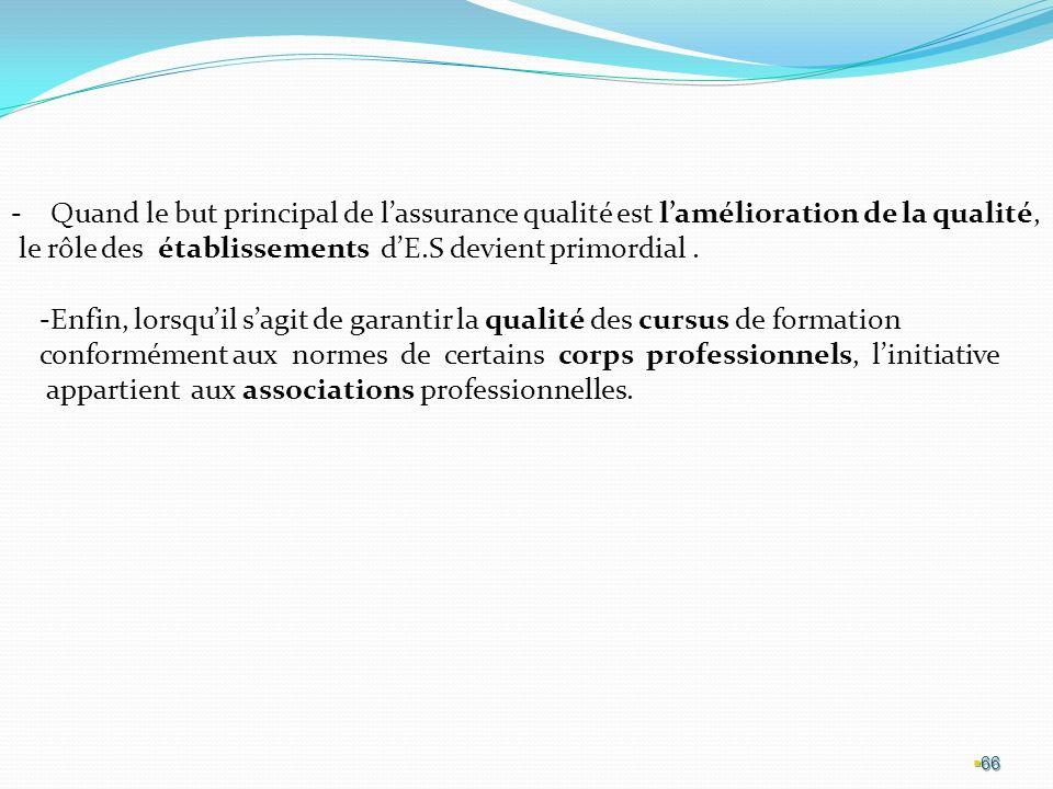 66 -Quand le but principal de lassurance qualité est lamélioration de la qualité, le rôle des établissements dE.S devient primordial.
