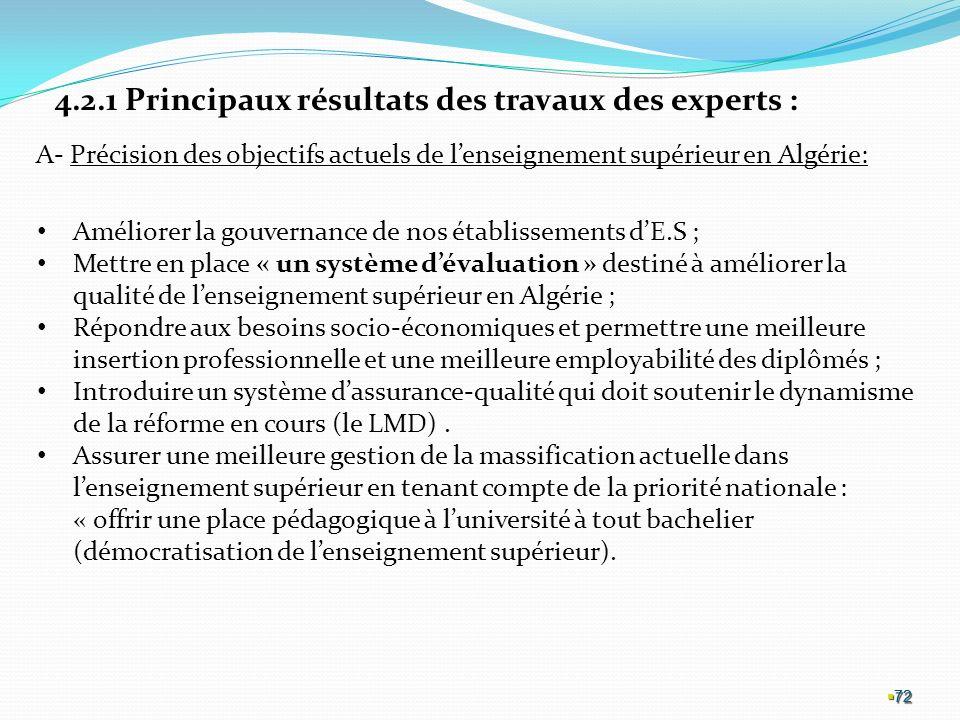 72 72 72 4.2.1 Principaux résultats des travaux des experts : A- Précision des objectifs actuels de lenseignement supérieur en Algérie: Améliorer la gouvernance de nos établissements dE.S ; Mettre en place « un système dévaluation » destiné à améliorer la qualité de lenseignement supérieur en Algérie ; Répondre aux besoins socio-économiques et permettre une meilleure insertion professionnelle et une meilleure employabilité des diplômés ; Introduire un système dassurance-qualité qui doit soutenir le dynamisme de la réforme en cours (le LMD).