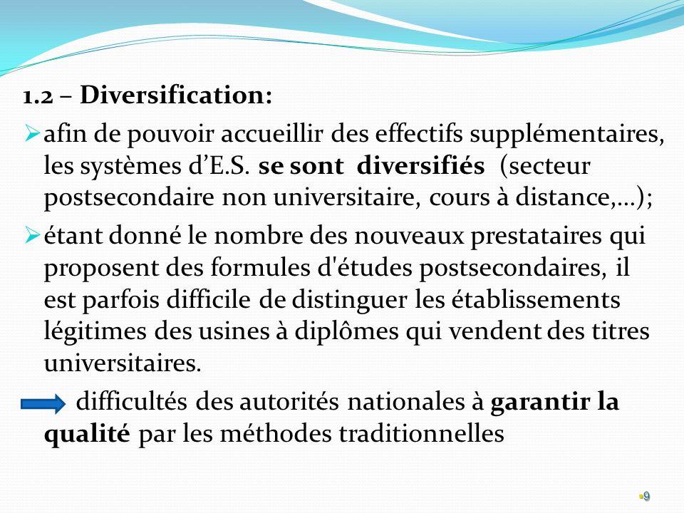 1.2 – Diversification: afin de pouvoir accueillir des effectifs supplémentaires, les systèmes dE.S.