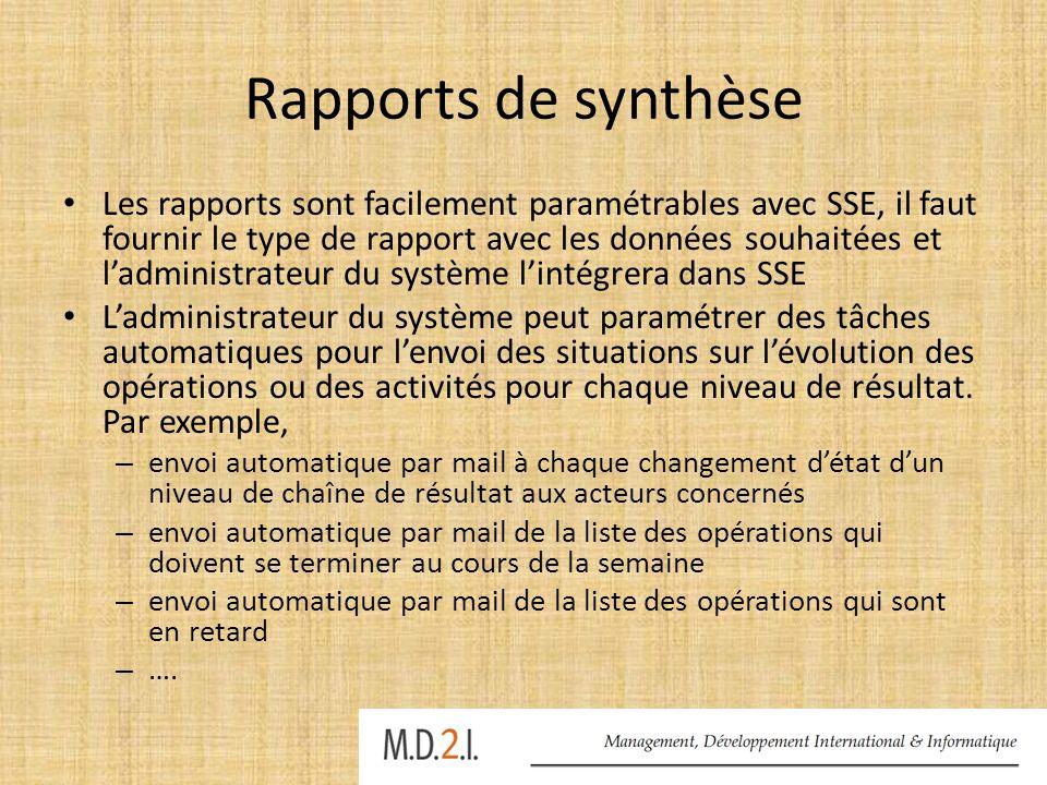 Rapports de synthèse Les rapports sont facilement paramétrables avec SSE, il faut fournir le type de rapport avec les données souhaitées et ladministr