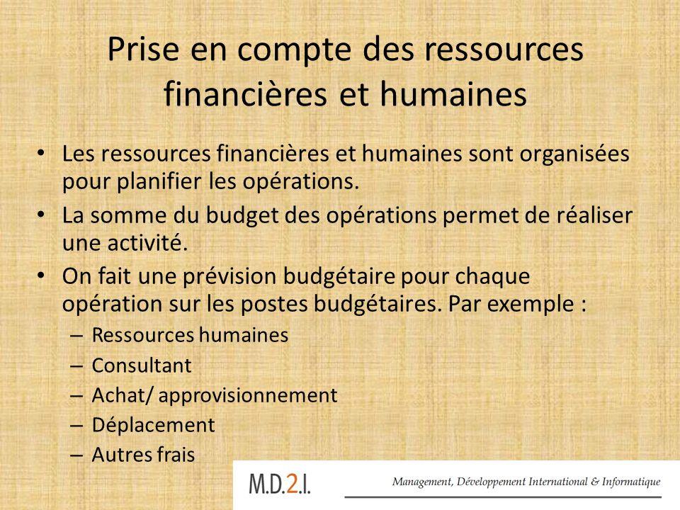 Prise en compte des ressources financières et humaines Les ressources financières et humaines sont organisées pour planifier les opérations. La somme