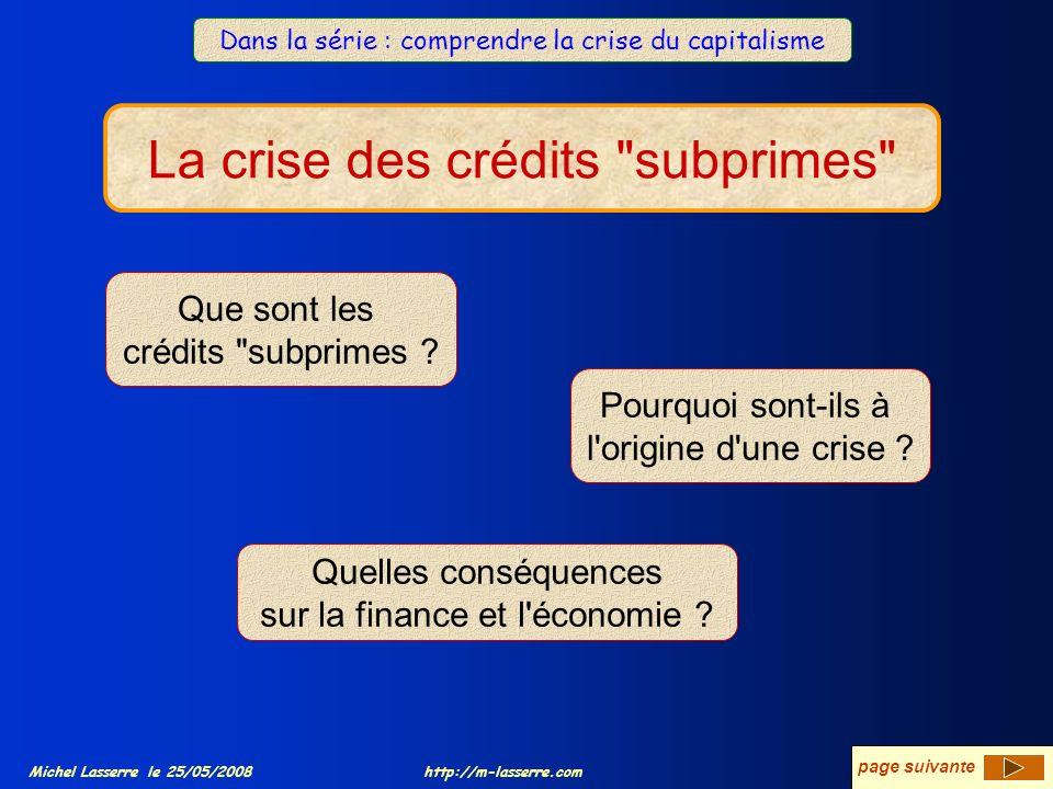 La crise des crédits subprimes Michel Lasserre le 25/05/2008 La crise des crédits subprimes Que sont les crédits subprimes .
