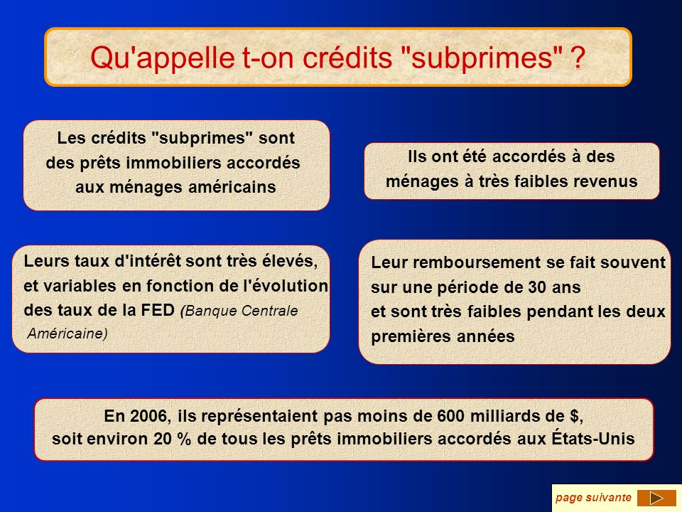 Qu appelle t-on crédits subprimes .