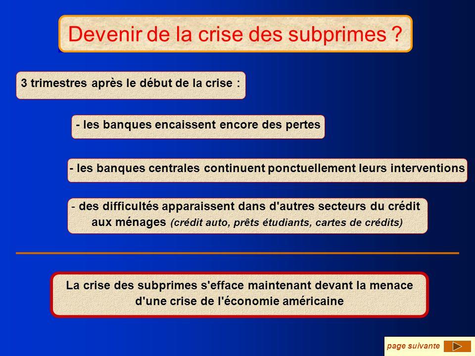 Devenir de la crise ? Devenir de la crise des subprimes ? - les banques encaissent encore des pertes - les banques centrales continuent ponctuellement