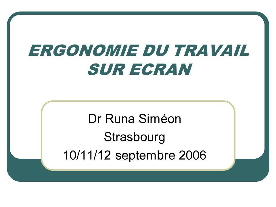 ERGONOMIE DU TRAVAIL SUR ECRAN Dr Runa Siméon Strasbourg 10/11/12 septembre 2006