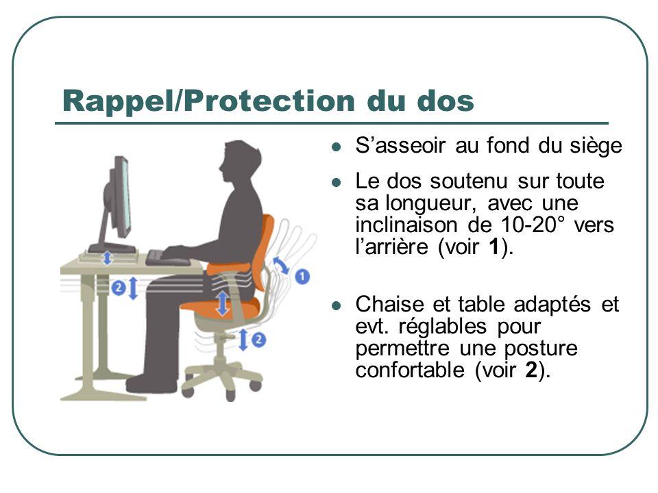 Rappel/Protection du dos Sasseoir au fond du siège Le dos soutenu sur toute sa longueur, avec une inclinaison de 10-20° vers larrière (voir 1). Chaise