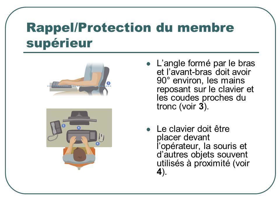 Rappel/Protection du membre supérieur Langle formé par le bras et lavant-bras doit avoir 90° environ, les mains reposant sur le clavier et les coudes