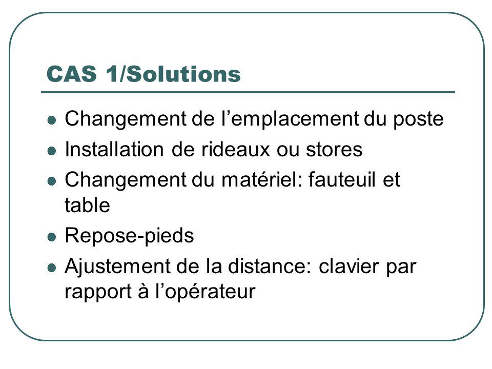 CAS 1/Solutions Changement de lemplacement du poste Installation de rideaux ou stores Changement du matériel: fauteuil et table Repose-pieds Ajustemen