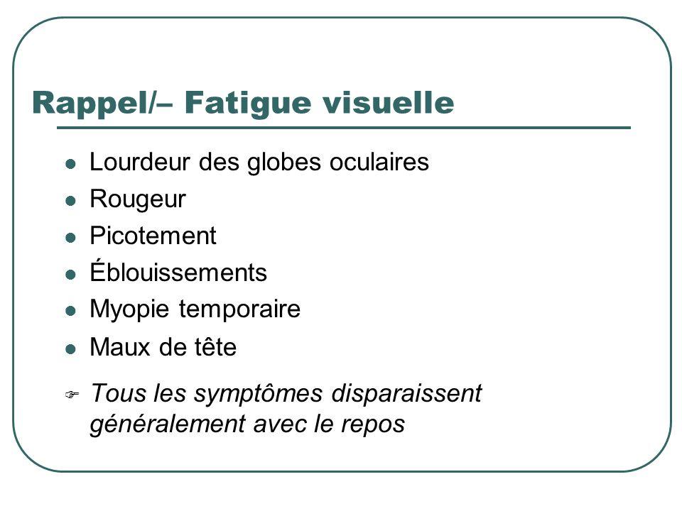 Rappel/– Fatigue visuelle Lourdeur des globes oculaires Rougeur Picotement Éblouissements Myopie temporaire Maux de tête Tous les symptômes disparaiss