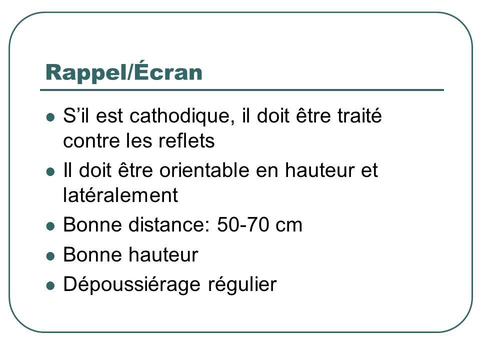 Rappel/Écran Sil est cathodique, il doit être traité contre les reflets Il doit être orientable en hauteur et latéralement Bonne distance: 50-70 cm Bo