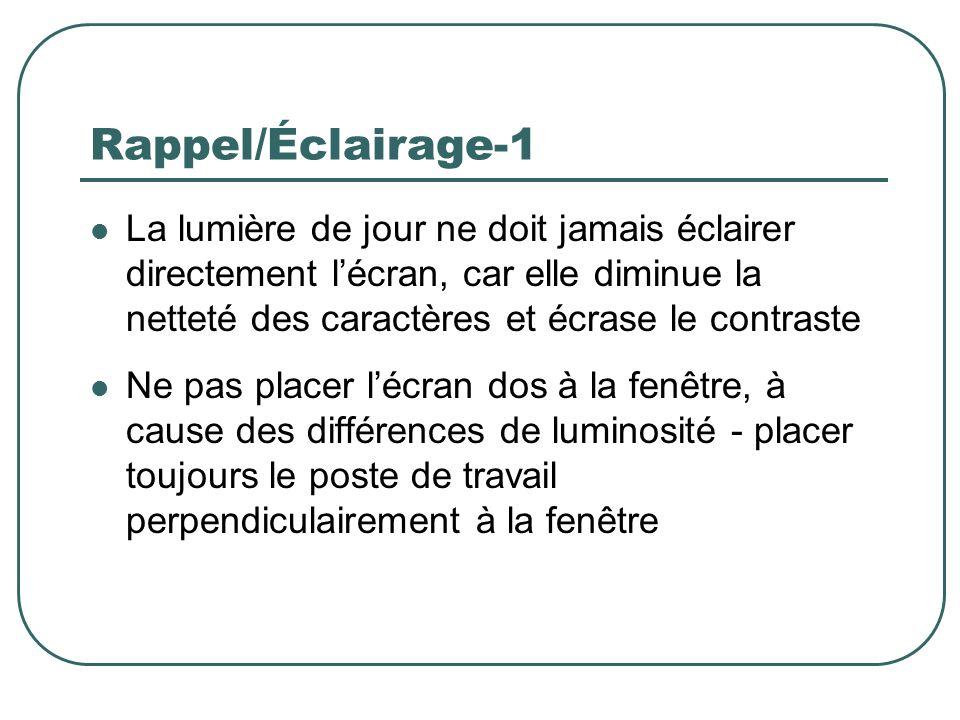 Rappel/Éclairage-1 La lumière de jour ne doit jamais éclairer directement lécran, car elle diminue la netteté des caractères et écrase le contraste Ne
