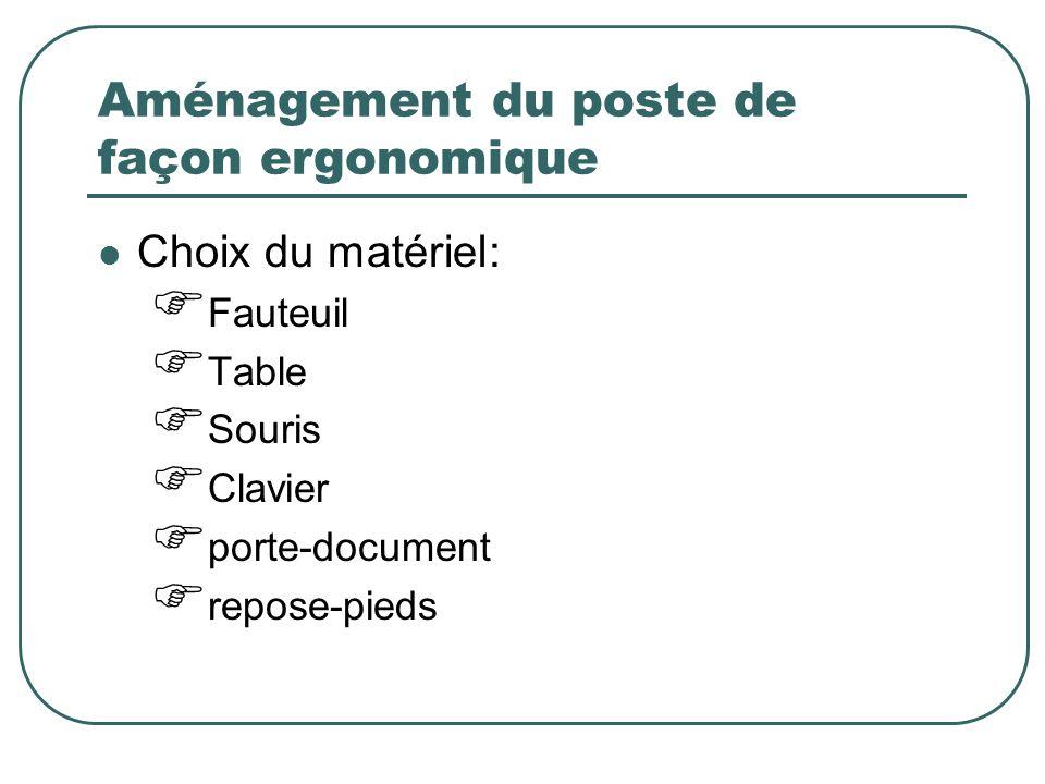 Aménagement du poste de façon ergonomique Choix du matériel: Fauteuil Table Souris Clavier porte-document repose-pieds