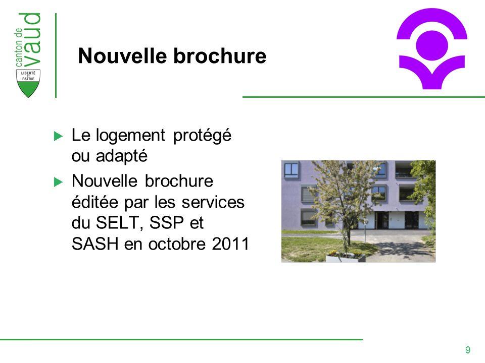 9 Nouvelle brochure Le logement protégé ou adapté Nouvelle brochure éditée par les services du SELT, SSP et SASH en octobre 2011