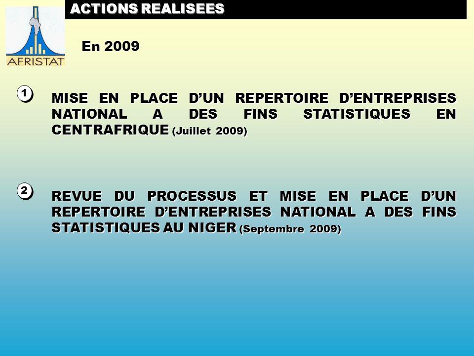 2 2 ACTIONS REALISEES MISE EN PLACE DUN REPERTOIRE DENTREPRISES NATIONAL A DES FINS STATISTIQUES EN CENTRAFRIQUE (Juillet 2009) REVUE DU PROCESSUS ET MISE EN PLACE DUN REPERTOIRE DENTREPRISES NATIONAL A DES FINS STATISTIQUES AU NIGER (Septembre 2009) 1 1 En 2009