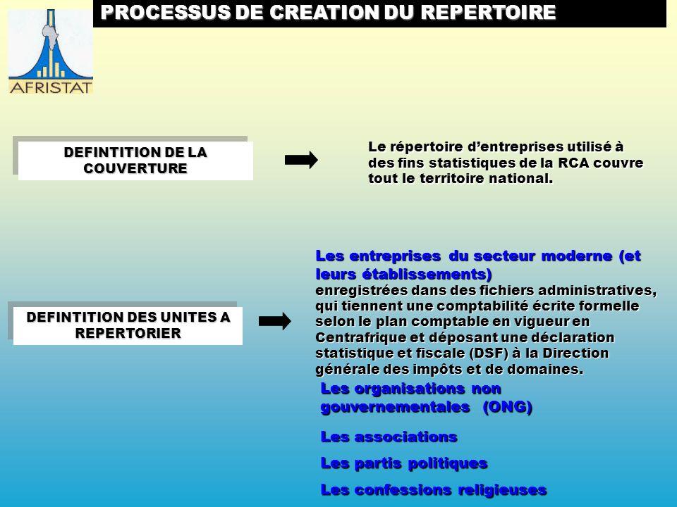 PROCESSUS DE CREATION DU REPERTOIRE Le répertoire dentreprises utilisé à des fins statistiques de la RCA couvre tout le territoire national.
