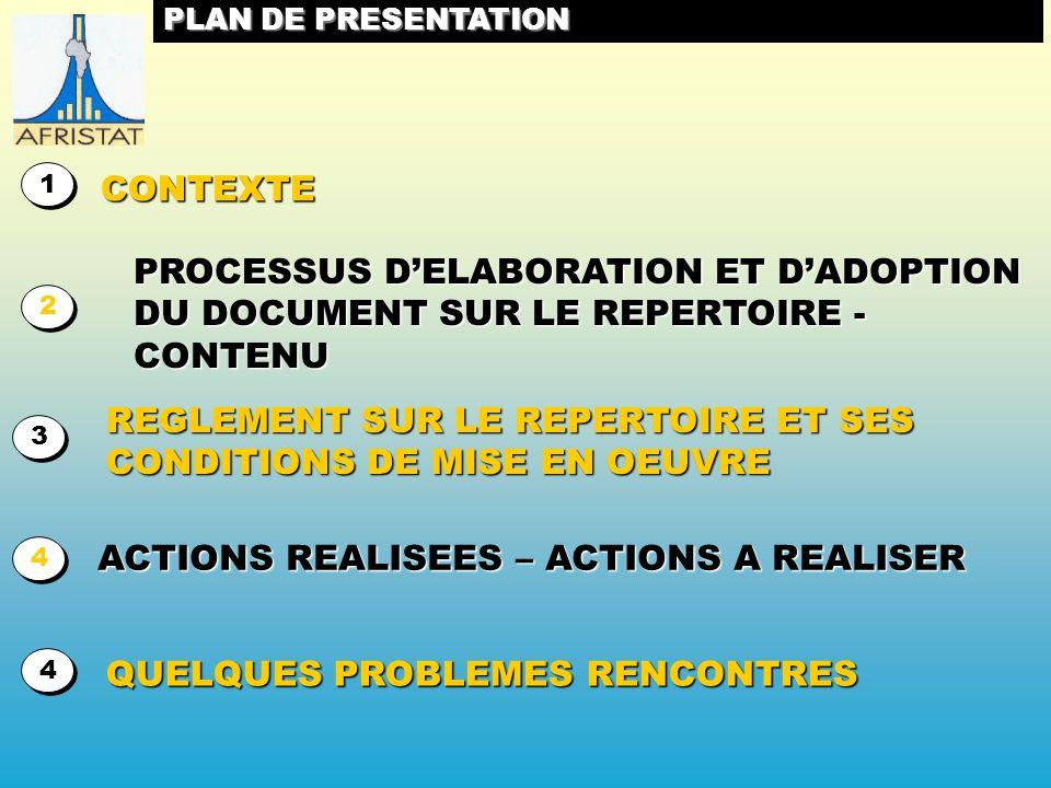 PLAN DE PRESENTATION CONTEXTE 1 1 PROCESSUS DELABORATION ET DADOPTION DU DOCUMENT SUR LE REPERTOIRE - CONTENU 2 2 REGLEMENT SUR LE REPERTOIRE ET SES CONDITIONS DE MISE EN OEUVRE 3 3 ACTIONS REALISEES – ACTIONS A REALISER 4 4 QUELQUES PROBLEMES RENCONTRES 4 4