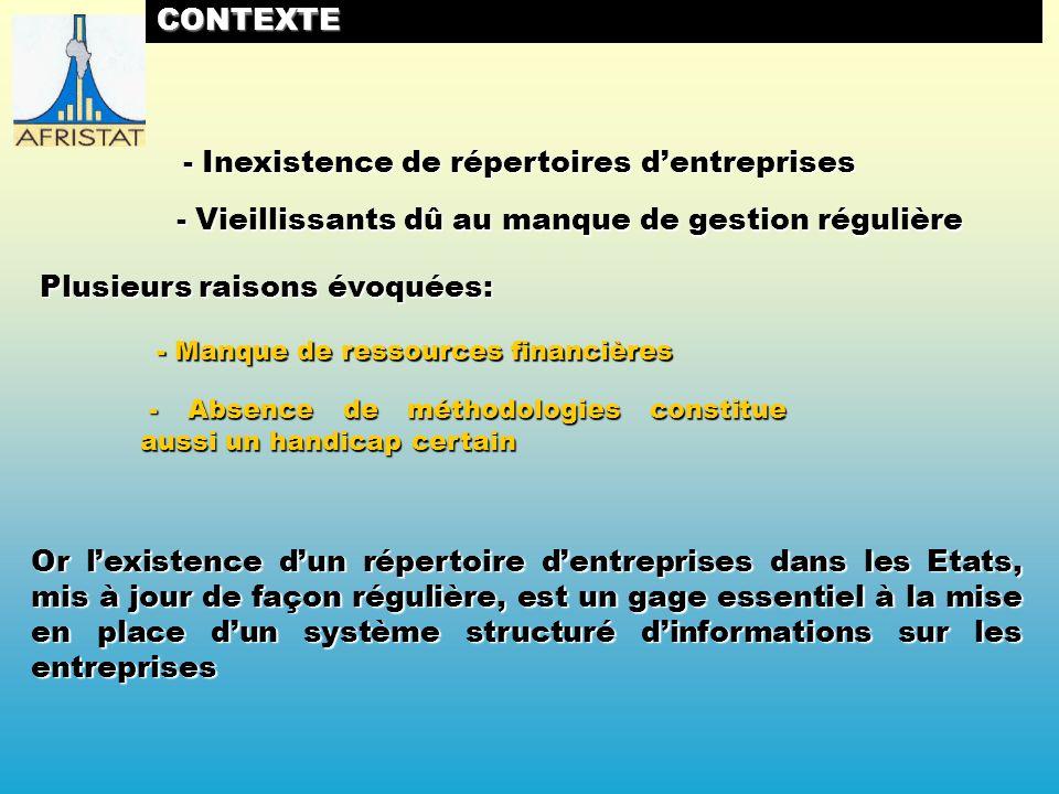 ACTIONS REALISEES MISE EN PLACE DUN REPERTOIRE DENTREPRISES NATIONAL A DES FINS STATISTIQUES EN CENTRAFRIQUE (Juillet 2009)