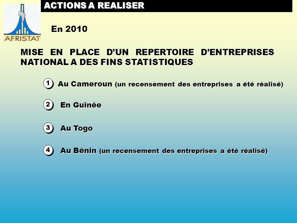 2 2 ACTIONS A REALISER MISE EN PLACE DUN REPERTOIRE DENTREPRISES NATIONAL A DES FINS STATISTIQUES 1 1 En 2010 Au Cameroun (un recensement des entreprises a été réalisé) En Guinée 3 3 Au Togo 4 4 Au Bénin (un recensement des entreprises a été réalisé)