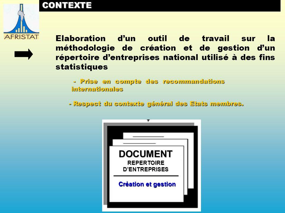 PROCESSUS DELABORATION ET DADOPTION ATELIER DE MISE EN PLACE DUN REPERTOIRE DENTREPRISES (MARS 2008) 1 1 ELABORATION DU 1ER PROJET DE METHODOLOGIE ET DU REGLEMENT REUNION DE PRESENTATION DES DOCUMENTS AUX EXPERTS DAFRISTAT (MAI 2008) ENVOI AUX ETATS MEMBRES – UEMOA – CEMAC DU 2EME PROJET DES DOCUMENTS ATELIER DE VALIDATION DES DOCUMENTS (NOVEMBRE 2008) ATELIER DE VALIDATION DES DOCUMENTS (NOVEMBRE 2008) 2 2 3 3 4 4 5 5