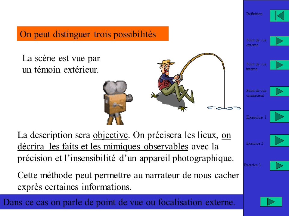 LA NOTION DE POINT DE VUE NARRATIF OU FOCALISATION La focale désigne le foyer, la lentille dun appareil photo.