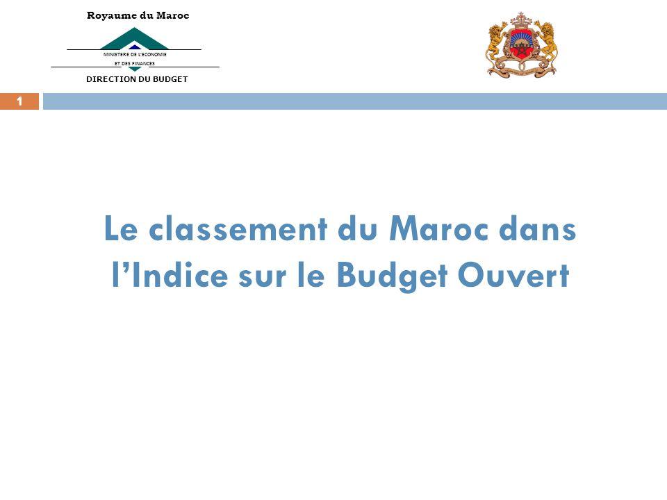 1 1 Le classement du Maroc dans lIndice sur le Budget Ouvert 1 MINISTERE DE LECONOMIE ET DES FINANCES Royaume du Maroc DIRECTION DU BUDGET