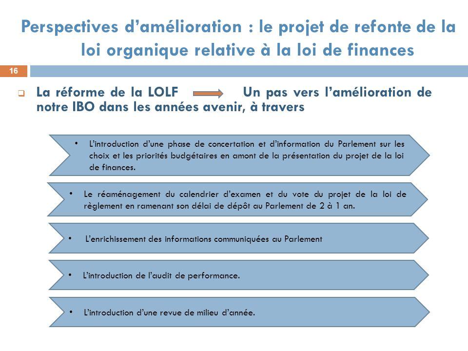 16 Perspectives damélioration : le projet de refonte de la loi organique relative à la loi de finances La réforme de la LOLF Un pas vers lamélioration