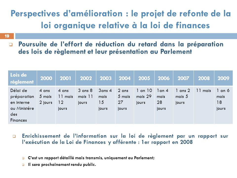 19 Poursuite de leffort de réduction du retard dans la préparation des lois de règlement et leur présentation au Parlement Enrichissement de linformat