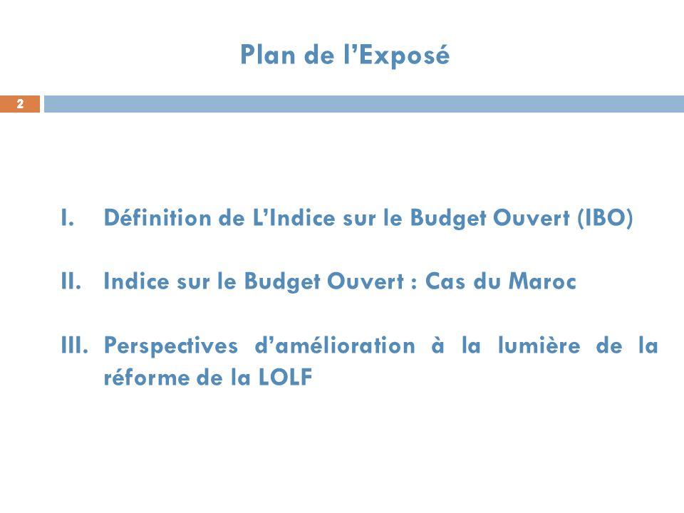 2 2 2 Plan de lExposé I.Définition de LIndice sur le Budget Ouvert (IBO) II.Indice sur le Budget Ouvert : Cas du Maroc III.Perspectives damélioration