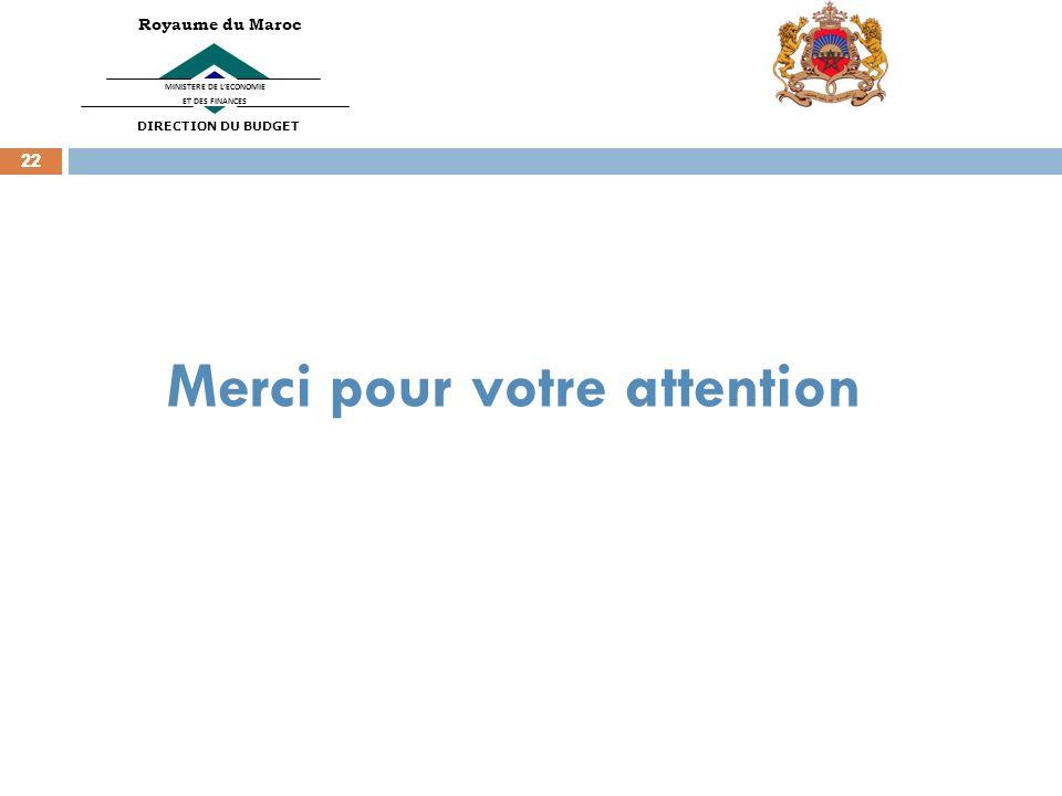 22 MINISTERE DE LECONOMIE ET DES FINANCES Royaume du Maroc DIRECTION DU BUDGET Merci pour votre attention
