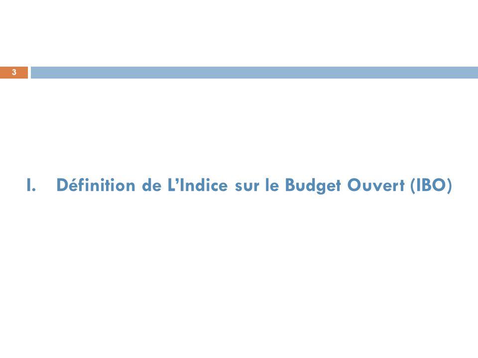 3 I.Définition de LIndice sur le Budget Ouvert (IBO)