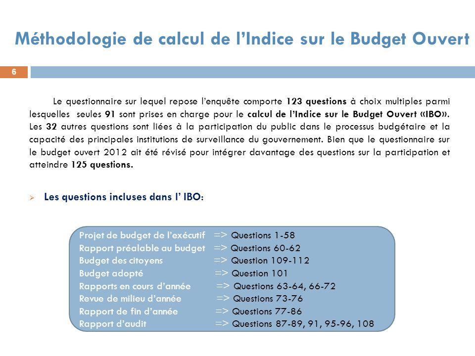 6 Méthodologie de calcul de lIndice sur le Budget Ouvert Le questionnaire sur lequel repose lenquête comporte 123 questions à choix multiples parmi le