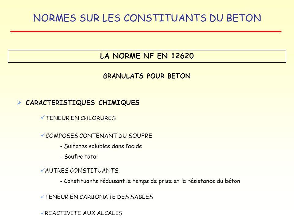 NORMES SUR LES CONSTITUANTS DU BETON LA NORME NF EN 12620 GRANULATS POUR BETON CARACTERISTIQUES CHIMIQUES TENEUR EN CHLORURES COMPOSES CONTENANT DU SO