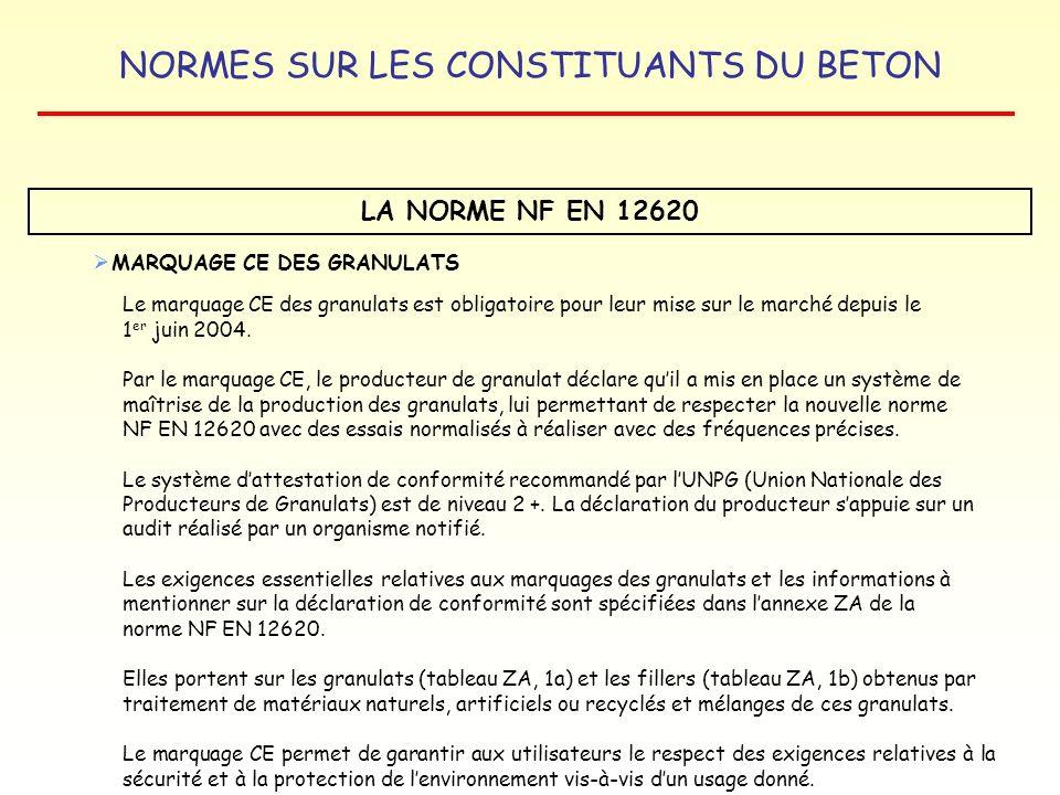 NORMES SUR LES CONSTITUANTS DU BETON LA NORME NF EN 12620 MARQUAGE CE DES GRANULATS Le marquage CE des granulats est obligatoire pour leur mise sur le