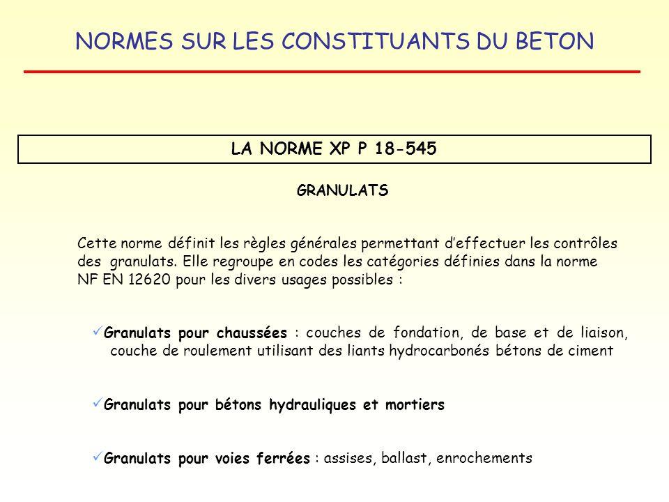 NORMES SUR LES CONSTITUANTS DU BETON LA NORME XP P 18-545 GRANULATS Cette norme définit les règles générales permettant deffectuer les contrôles des g