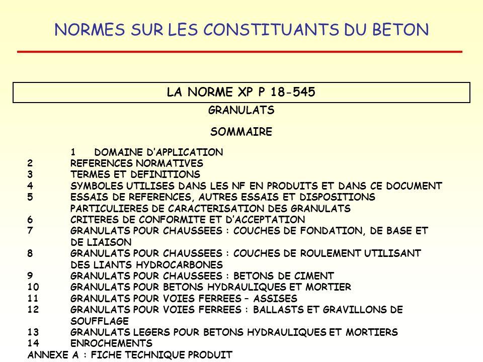NORMES SUR LES CONSTITUANTS DU BETON LA NORME XP P 18-545 GRANULATS SOMMAIRE 1 DOMAINE DAPPLICATION 2REFERENCES NORMATIVES 3TERMES ET DEFINITIONS 4 SY