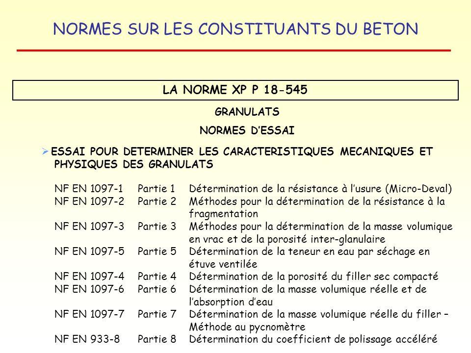 NORMES SUR LES CONSTITUANTS DU BETON LA NORME XP P 18-545 GRANULATS NORMES DESSAI ESSAI POUR DETERMINER LES CARACTERISTIQUES MECANIQUES ET PHYSIQUES D