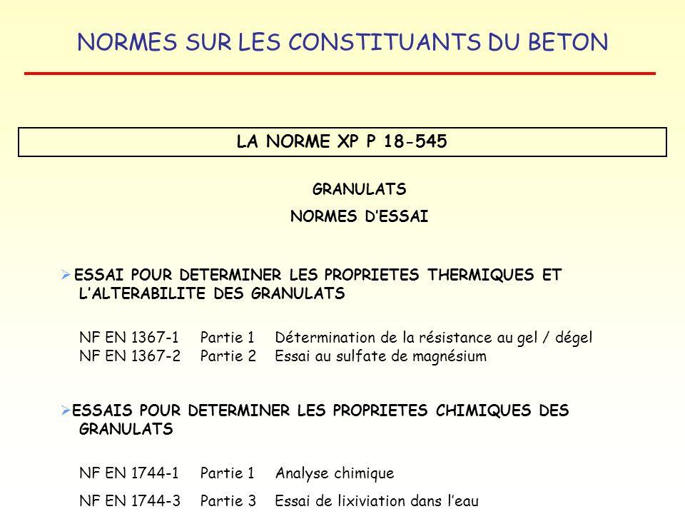 NORMES SUR LES CONSTITUANTS DU BETON LA NORME XP P 18-545 GRANULATS NORMES DESSAI ESSAI POUR DETERMINER LES PROPRIETES THERMIQUES ET LALTERABILITE DES