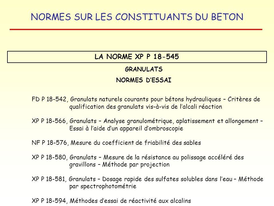 NORMES SUR LES CONSTITUANTS DU BETON LA NORME XP P 18-545 GRANULATS NORMES DESSAI FD P 18-542, Granulats naturels courants pour bétons hydrauliques –