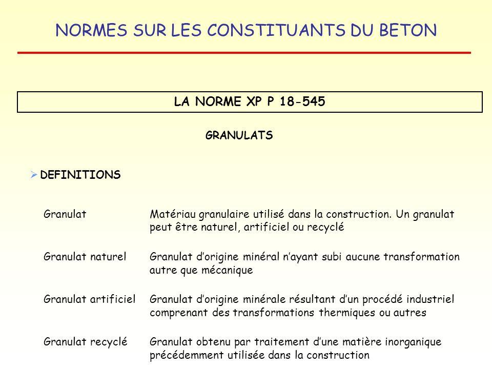 NORMES SUR LES CONSTITUANTS DU BETON LA NORME XP P 18-545 GRANULATS DEFINITIONS GranulatMatériau granulaire utilisé dans la construction. Un granulat