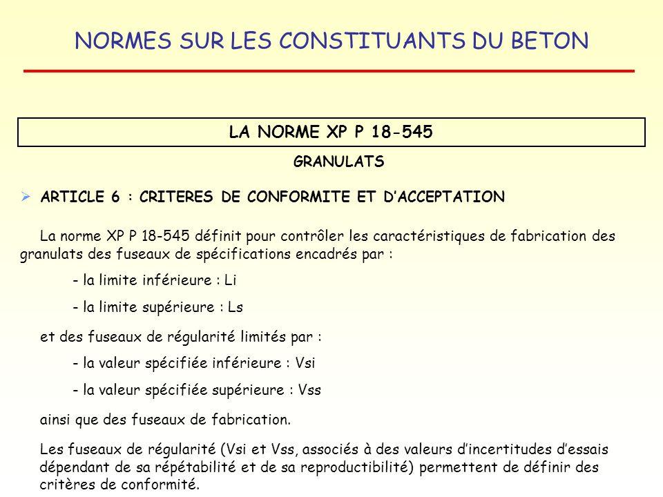 NORMES SUR LES CONSTITUANTS DU BETON LA NORME XP P 18-545 GRANULATS ARTICLE 6 : CRITERES DE CONFORMITE ET DACCEPTATION La norme XP P 18-545 définit po