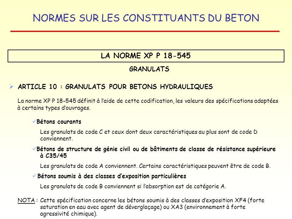 NORMES SUR LES CONSTITUANTS DU BETON LA NORME XP P 18-545 GRANULATS ARTICLE 10 : GRANULATS POUR BETONS HYDRAULIQUES La norme XP P 18-545 définit à lai
