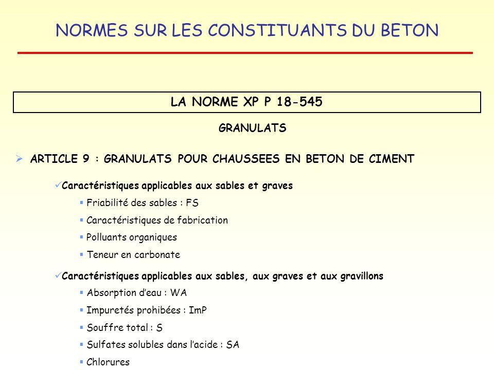 NORMES SUR LES CONSTITUANTS DU BETON LA NORME XP P 18-545 Caractéristiques applicables aux sables, aux graves et aux gravillons Absorption deau : WA I