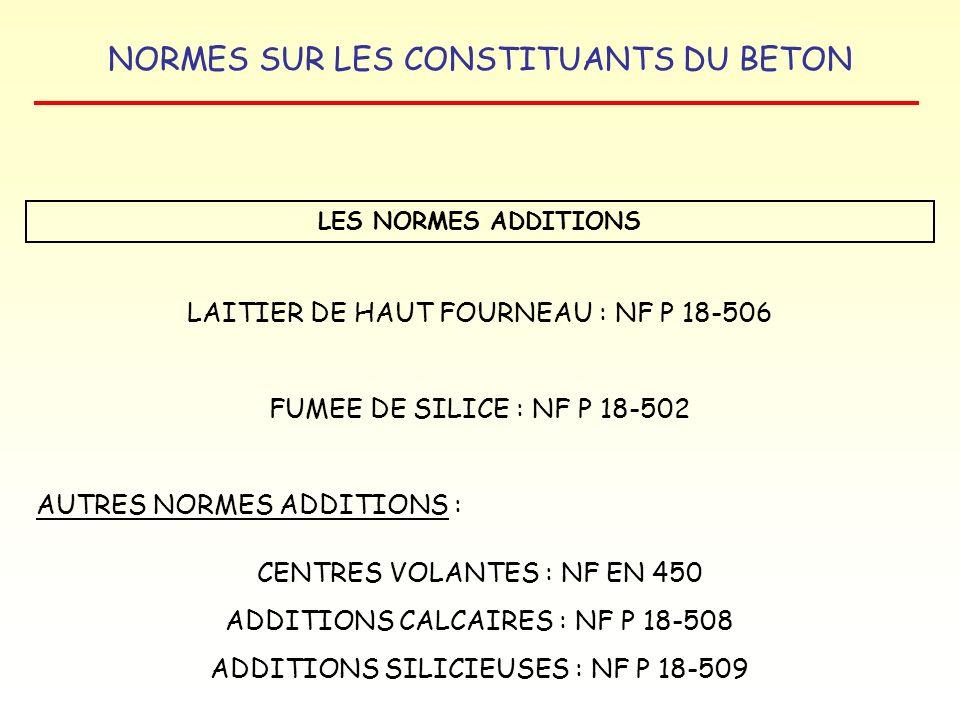 NORMES SUR LES CONSTITUANTS DU BETON LES NORMES ADDITIONS LAITIER DE HAUT FOURNEAU : NF P 18-506 FUMEE DE SILICE : NF P 18-502 AUTRES NORMES ADDITIONS
