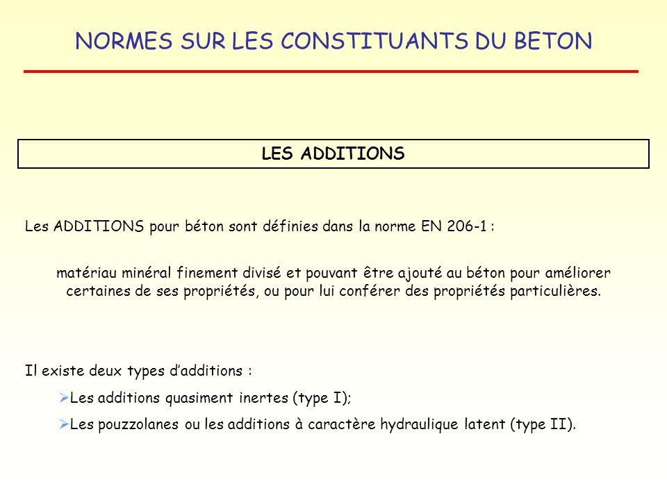 NORMES SUR LES CONSTITUANTS DU BETON LES ADDITIONS Les ADDITIONS pour béton sont définies dans la norme EN 206-1 : matériau minéral finement divisé et