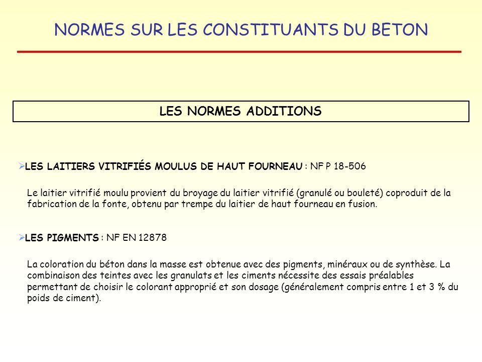 NORMES SUR LES CONSTITUANTS DU BETON LES NORMES ADDITIONS LES LAITIERS VITRIFIÉS MOULUS DE HAUT FOURNEAU : NF P 18-506 Le laitier vitrifié moulu provi