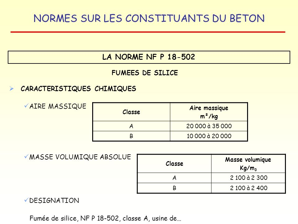 NORMES SUR LES CONSTITUANTS DU BETON LA NORME NF P 18-502 FUMEES DE SILICE CARACTERISTIQUES CHIMIQUES AIRE MASSIQUE MASSE VOLUMIQUE ABSOLUE DESIGNATIO
