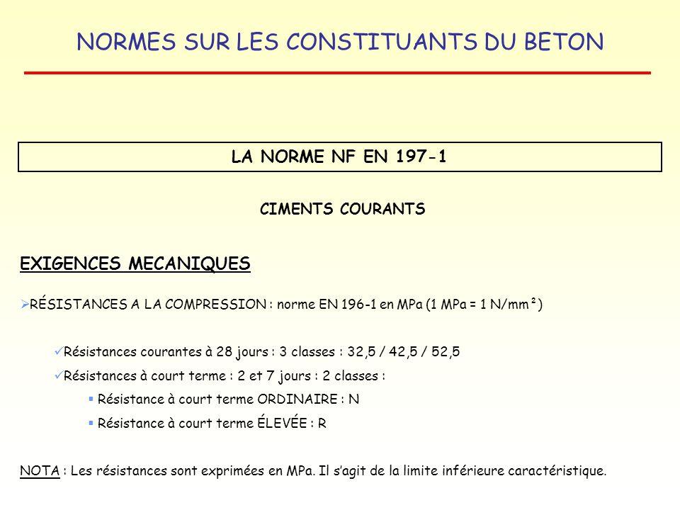 NORMES SUR LES CONSTITUANTS DU BETON LA NORME NF EN 197-1 EXIGENCES MECANIQUES CIMENTS COURANTS RÉSISTANCES A LA COMPRESSION : norme EN 196-1 en MPa (